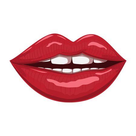 Rote Lippen. Vektorkarikaturillustration lokalisiert auf einem weißen Hintergrund.