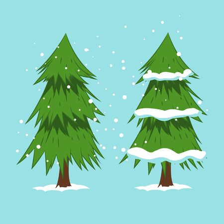 Cartoon Christmas tree in snow. Vector illustration isolated on background.