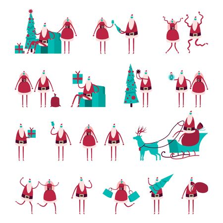 Faceless Santa Claus and girl, Christmas tree, sleigh with reindeer in different poses and actions. Vector flat holiday character set isolated on white background.