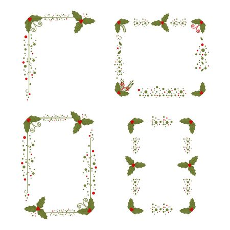 Holly berry frame. Christmas border set. Holiday decorated element isolated on a white background. Standard-Bild - 134789050