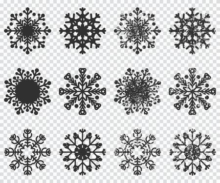 Snowflakes black silhouette vector icons set isolated on transparent background.