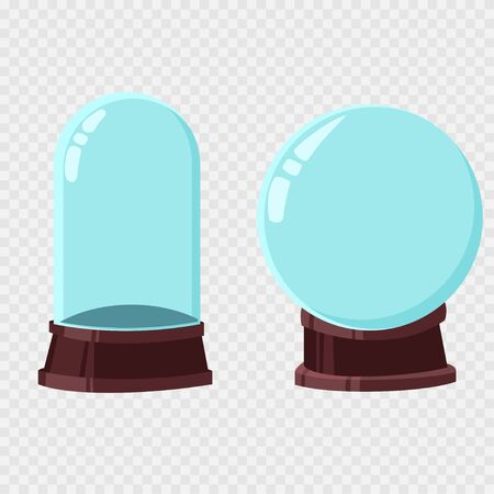 Christmas snow globe template vector cartoon set. Empty glass ball isolated on a transparent background.  イラスト・ベクター素材