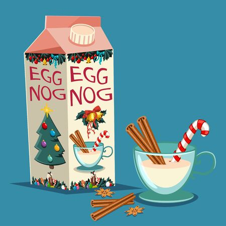 Christmas eggnog in carton package with cinnamon, candy cane and a glass with a drink. Vector set of traditional holiday treats isolated on background. Ilustração
