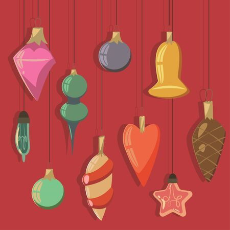 Vintage Christmas tree balls and light bulbs of different shapes vector cartoon set.