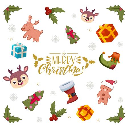 Christmas greeting card with handwritten text and decorative elements. Holiday vector cartoon background.