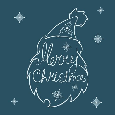 Santa Claus head silhouette and handwritten text Merry Christmas. Vector holiday icon isolated on background.