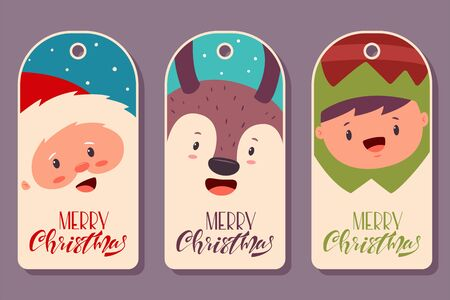 Christmas label tags with cute Santa Claus, reindeer and elf. Vector cartoon cards set with funny holidays characters and handwritten text isolated on background.