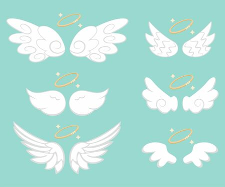 Angel wings with gold nimbus. Cartoon vector icons set isolated on background. Stock Illustratie