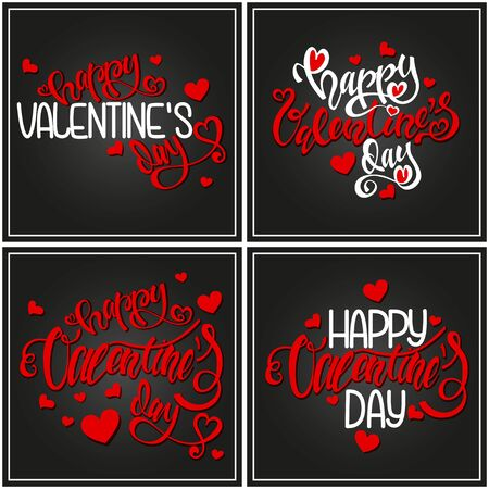 Happy Valentines day card design with little red hearts. Handwritten calligraphy text. Vector holiday illustration set. Ilustração
