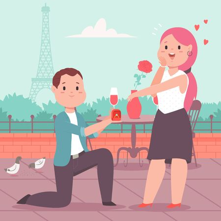 Man with engagement ring makes a proposal to girl in a romantic place. Loving couple in a cafe on city landscape background. Valentines Day vector cartoon concept illustration.