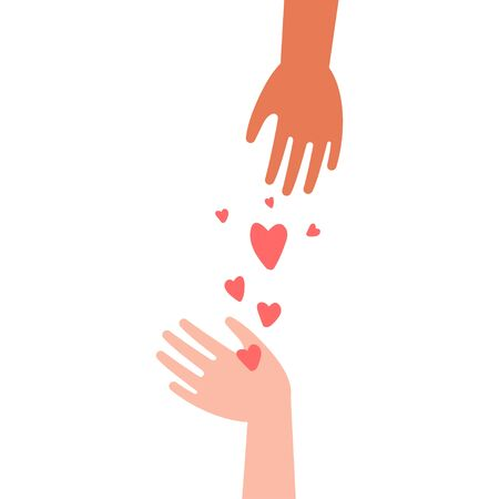 Hands and hearts vector concept illustration isolated on white background.