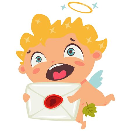 Cute cupid smiling and holds in hands love letter. Valentines Day symbol. Cartoon vector illustration isolated on a white background.  イラスト・ベクター素材