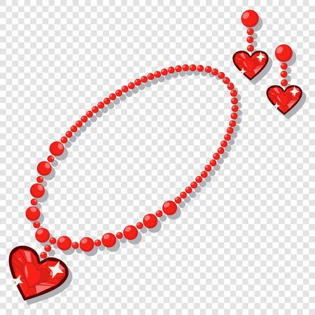 Jewelry accessories: necklace and earrings with red gemstones in the shape of a heart. Vector cartoon illustration isolated on a transparent background.