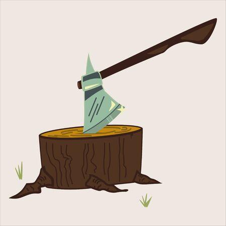 Axe on stump isolated on background. Woodworking tools icon. Vector cartoon illustration of hatchet.