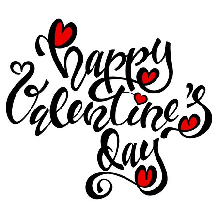 Happy Valentines day lettering design. Handwritten calligraphy black text with red heart. Vector holiday illustration isolated on a white background.  イラスト・ベクター素材