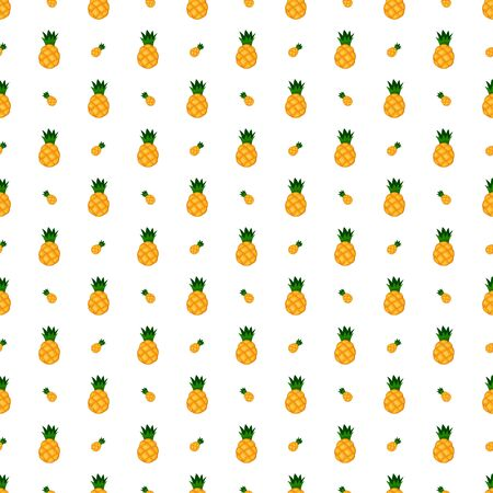 Pineapple seamless pattern. Vector texture on white background.