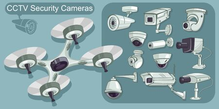 CCTV icons vector set. Cameras security and surveillance to protect and defend for home and office. Cartoon illustration isolated on background.  イラスト・ベクター素材