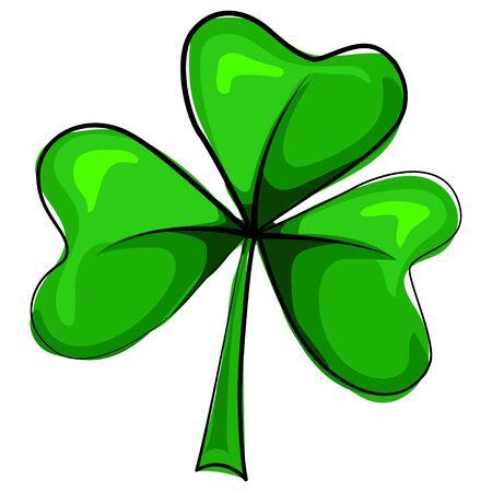 Shamrock vector cartoon illustration isolated on white background. Green three leaf clover icon. Design element for Irish holiday St. Patricks Day.