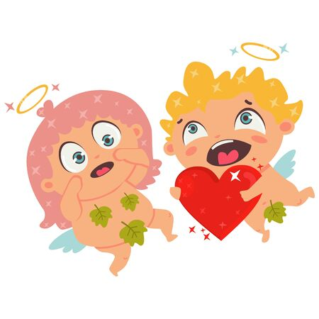 Couple in love Cupid and red heart. Valentines Day symbol. Cartoon vector illustration isolated on a white background.