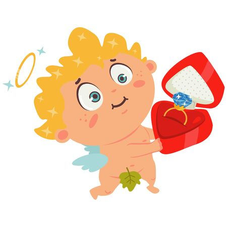 Cupid boy with diamond engagement ring in box. Valentines Day symbol. Cartoon vector illustration isolated on a white background.