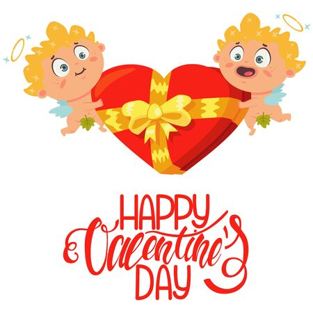 Cute couple cupid holding a red box of chocolates in form of heart with a bow and the text Happy Valentines Day. The symbol of the day of lovers. Cartoon vector illustration on a white background.