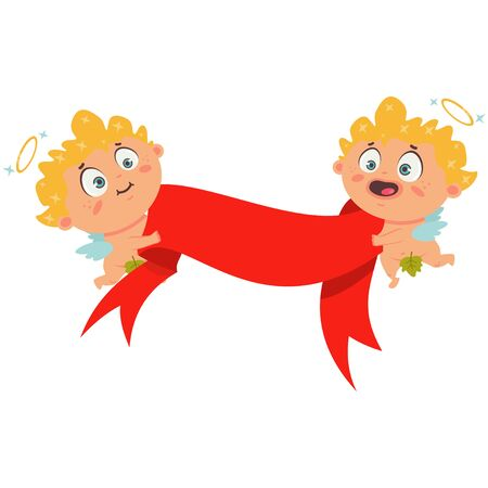 Couple Cupid with red banner ribbon. Valentines Day symbol. Cartoon vector illustration isolated on a white background.