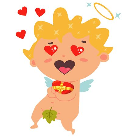 Cute cupid holding a red box of chocolates with a yellow bow and little hearts flying around. Valentines Day symbol. Cartoon vector illustration isolated on a white background. 일러스트