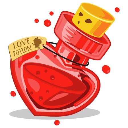 Love potion in glass bottle. Cartoon vector illustration isolated on white background. 일러스트
