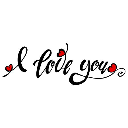 I love you lettering design. Handwritten calligraphy black text with red heart. Vector holiday illustration isolated on a white background.
