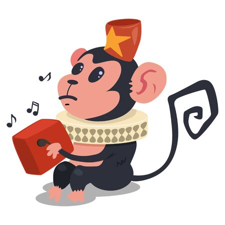 Circus animals vector character. Cute monkey plays the music box. Cartoon illustration.