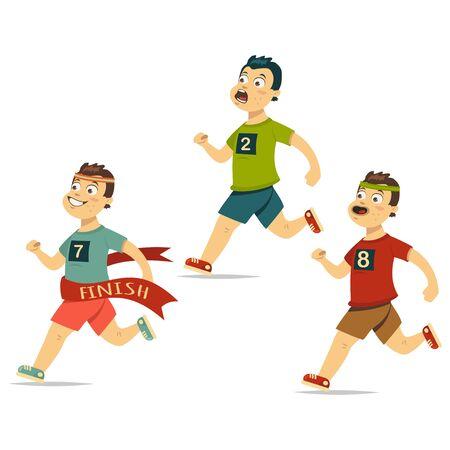 Winner runner crosses finish line ribbon with other athletes behind. Vector cartoon illustration on white background Ilustração
