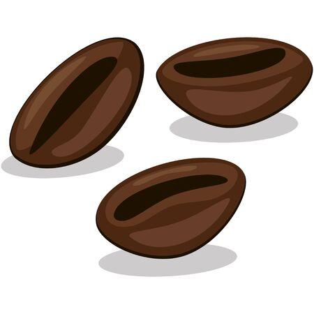 Coffee beans isolated on white background. Vector cartoon illustration. Ilustração