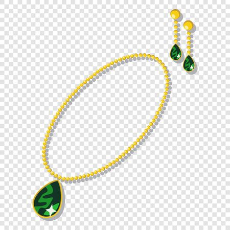 Gold jewelry accessories: necklaces and earrings with green gemstones. Vector cartoon illustration isolated on a transparent background.