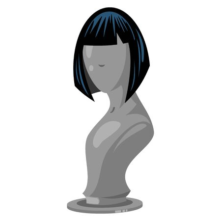 Woman hair style black color on the fashion mannequin. Vector cartoon icon isolated on a white background.
