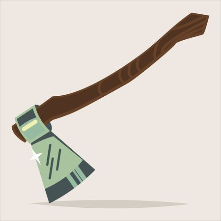 Axe isolated on background. Woodworking tools icon. Vector cartoon illustration of hatchet.