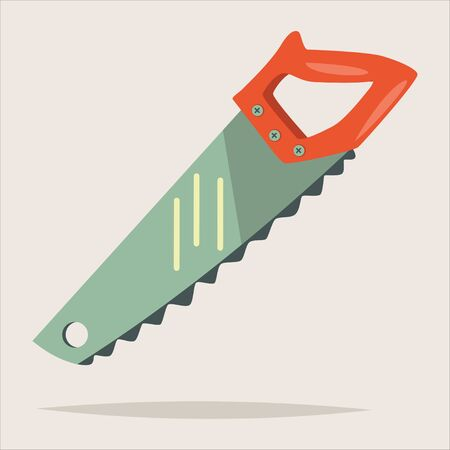 Hand saw isolated on the background. Woodworking tools icon. Vector cartoon illustration.