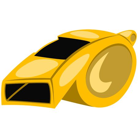 Gold referee whistle cartoon illustration. Vector icon isolated on white background. Ilustração