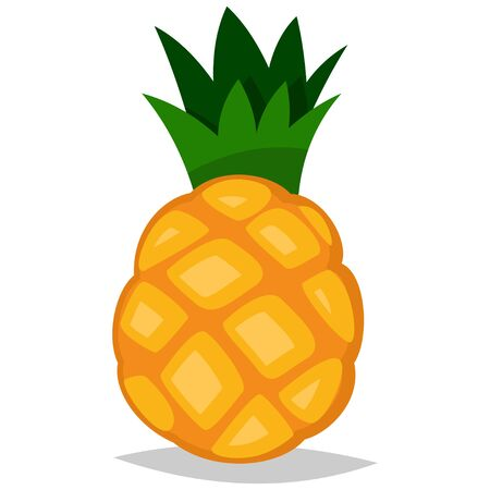 Pineapple tropical fruit. Cartoon vector icon isolated on white background.