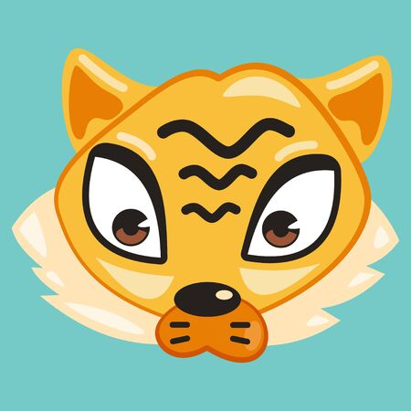 Cute animal vector cartoon. Tiger face isolated on a blue background.