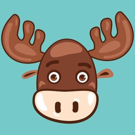 Cute animal vector cartoon. Moose face isolated on a blue background. Ilustração