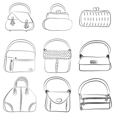 Fashion bag line icons vector set. Cartoon outline illustration isolated on white background.