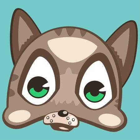 Cute animal vector cartoon. Cat face isolated on a blue background.