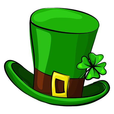 St. Patricks Day leprechaun hat with four leaf clover. Vector cartoon illustration isolated on white background. Symbols of the Irish holiday.