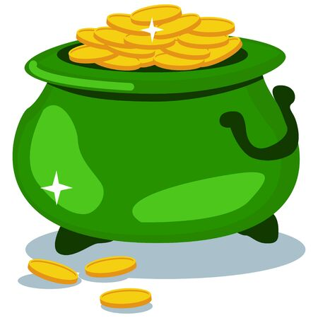 Pot of gold coins isolated on a white background. Vector cartoon illustration for St. Patricks Day. 일러스트