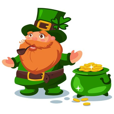 Leprechaun in green hat with four leaf clover and a pot of gold coins. Vector cartoon character. Illustration for St. Patricks Day. Design element for the Irish holiday.