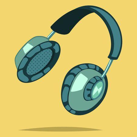 Headphones isolated on a yellow background. Retro vector icon. Cartoon illustration.