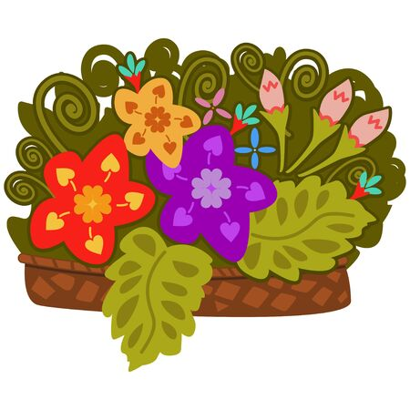 Basket with flowers. Cartoon vector illustration isolated on white background. 일러스트