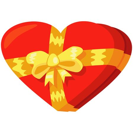 Red gift box in heart shape with yellow bow. Cartoon vector illustration isolated on white background.