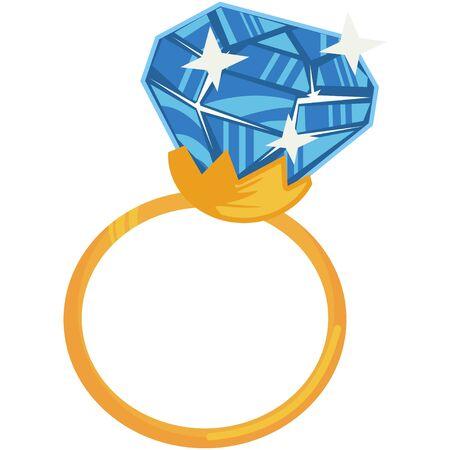 Blue diamond engagement ring. Cartoon vector illustration isolated on white background. 일러스트