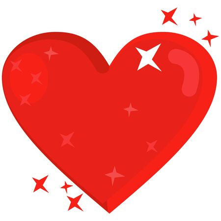 Red heart with shining stars. Vector cartoon illustration isolated on white background.